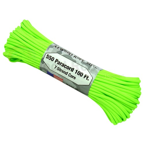 Atwood 550 Paracord - 100 ft - Neon Green