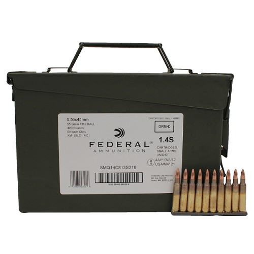 Federal XM193 5.56mm 55gr Strip-Clip Ammo Can - 420 Rounds