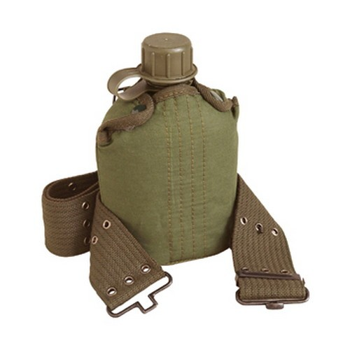 Stansport Plastic Canteen and Cover Set - Olive Drab